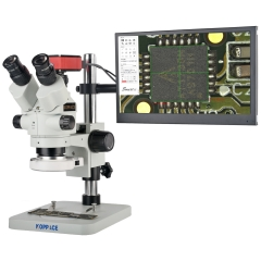 KOPPACE 3.5X-180X HD Trinocular Stereo Measuring Microscope Including 13.3-inch HD Monitor Can Take Pictures and Videos