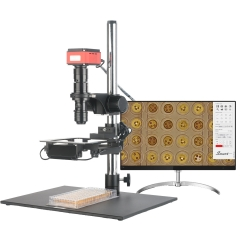 KOPPACE Large Field of View HD 4K Microscope 9X-60X Field of View 67mm-37mm WD 220mm Can Take Photos and Video Measurement